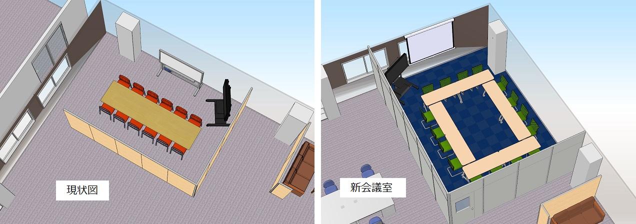 新旧の会議室イメージ 3D画像